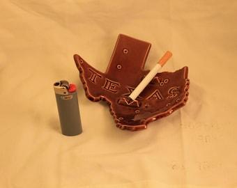 Vintage Texas Shaped Brown Glazed Ceramic Cigarette Ashtray