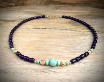 necklace with sugilite McGinnis turquoise beads and solid gold 18 karat 18 kt