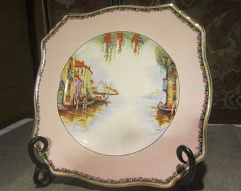 "Royal Winton Venice Plate Vintage 1930's Grimwades ""Ascot Plate"" Square Dinner Serving Plate Wall Decor Collectible Replacement - Col0260"