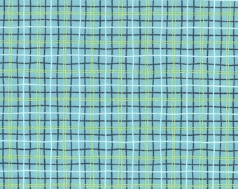 Blue Plaid Fabric - Ike and Oona by Michael Miller Fabrics - Lunch Box in Aqua - Fabric By The Half Yard