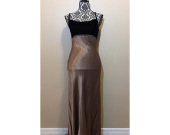 Vintage Prom Dress | Black and Brown/Gold Prom Dress