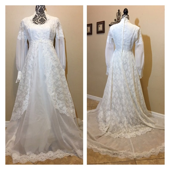 Vintage 60s lace wedding dress long sleeve wedding dress for Vintage wedding dress 60s