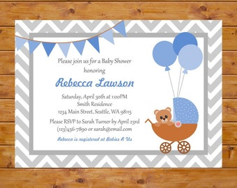 Blue Carriage Baby Shower Invitation - Teddy Bear Baby Shower Invitation - Printable, Custom, Digital