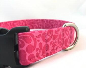 Pink paisley Dog Collar/Pink Floral dog collar/Pink dog collar/Dog Collar Pink/Modern Dog Collar/Girl Dog Collar/Female Dog Collar