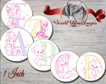 Precious Baby Alphabet Letters  Bottle cap Images Pink and pastel dots, Initials, Printable Digital Collage 1-Inch Circles  Instant download
