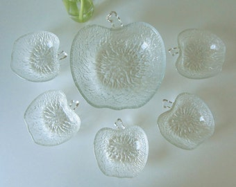 Vintage Cut Glass Apple Shaped Bowls with Embossed Design