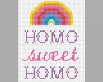 PDF Homo Sweet Homo Cross Stitch Downloadable Digital Pattern