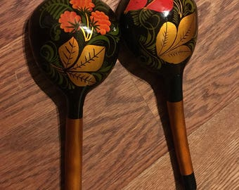 Two Russian wooden spoons