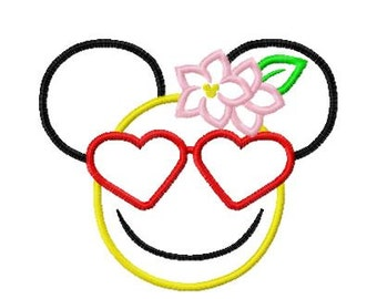 Character Inspired Emoji Heart Glasses Embroidery Applique Design