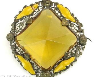Antique Estate 45.00ct Orange Citrine & Enamel Silver Pin / Brooch 14.8g