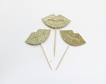 Glitter Lips Cupcake Toppers - Bachelorette - Bridal Shower - Valentines Day - Dessert Table - Party Decor - Donut Toppers - Decorations