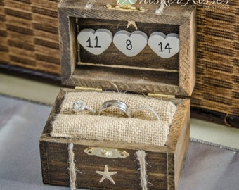 Rustic Wedding Ring Box, Engagement Ring Box, Beach Proposal, Personalized, Ring Bearer, Ring Holder, Destination Wedding, Starfish