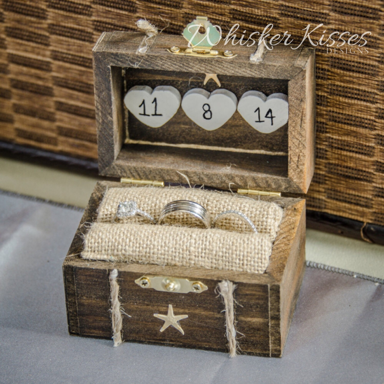 rustic wedding ring box engagement ring box beach proposal