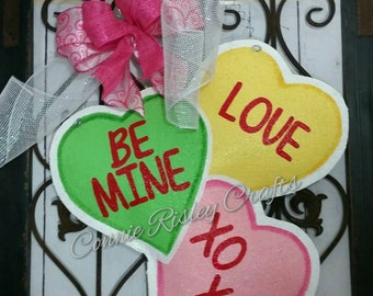 Valentine's Day Candy Hearts Burlap Door Hanger Decoration
