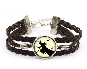 Halloween Vintage Coven Witch Bracelet Witches Full Moon Art Jewelry Christmas Gift