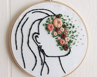 Girl Embroidery Hoop