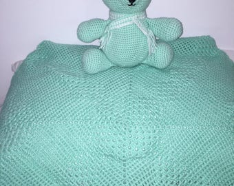 Crochet baby blanket throw baby toy mint green soft toy handmade newborn baby amigurumi toy blanket pram cot baby shower gift Etsy Australia