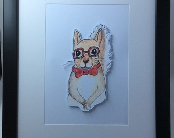 Hipster Squirrel Framed Artwork