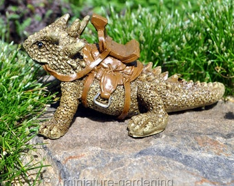 Spike the Lizard with Saddle for Miniature Garden, Fairy Garden