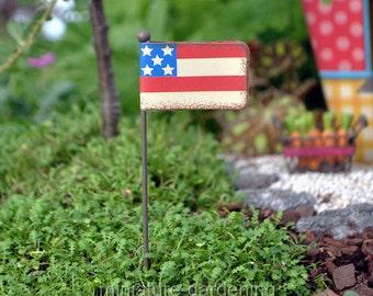 Stars, Stripes Flag Pick for Miniature Garden, Fairy Garden