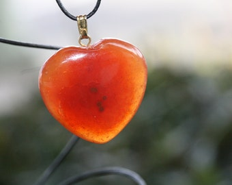 Carnelian Heart Shaped Crystal Pendant Bead With Black Cord