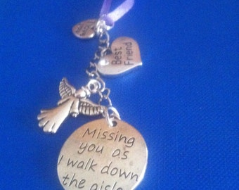 Missing you as I walk down the aisle BOUQUET memory charm, Wedding, Bride, choice from 60+ friend and relation charms