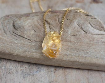 Raw Citrine Necklace in Gold or Silver, November Birthstone, Rough Citrine Necklace, Citrine Jewelry,  Raw Crystal Jewellery