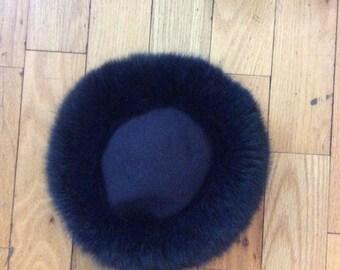 blue fur hat