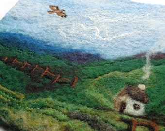 Buzzard - Hand felted Wallhanging