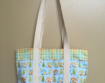 Handmade purse, handbag for camper, small market tote, reusable lunch bag, summer birthday or Mothers Day present for her