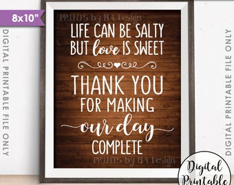 """Popcorn Sign, Life can be salty Love is Sweet Thanks making our day complete 8x10"""" Rustic Wood Style Printable Instant Download Wedding Sign"""