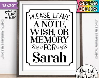 "Please Leave a Message Sign, Leave a Note Wish Memory, Write a Memory, Birthday Party Decor, Graduation Party, 8x10/16x20"" Printable Sign"