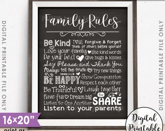 "Family Rules Sign, Follow the Rules of the Family Sign, House Rules, Family Values, 8x10/16x20"" Chalkboard Style Printable Instant Download"