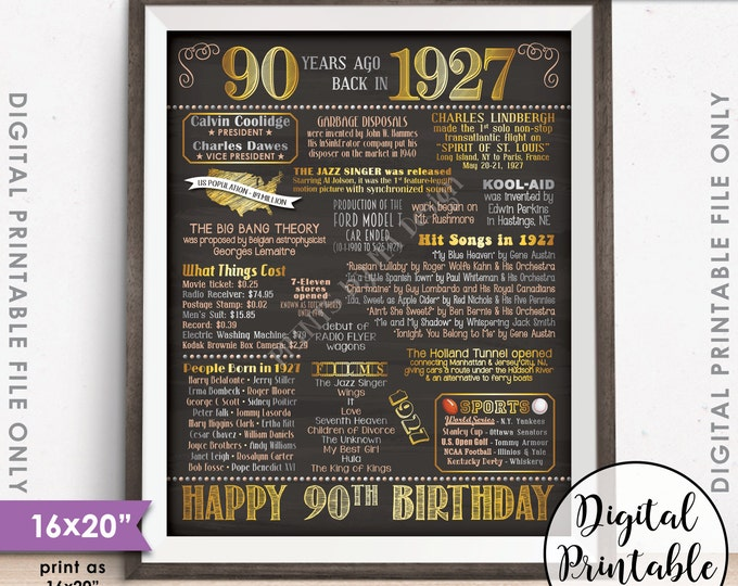 """90th Birthday Gift 1927 Poster, 90 Years USA Flashback Instant Download 8x10/16x20"""" Born in 1927 Birth 90th B-day Chalkboard Style Printable"""