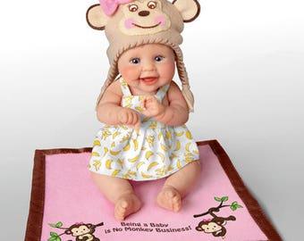 Ashton Drake - MONKEY BUSINESS Little Baby Doll by Sherry Rawn