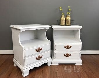 Vintage White Distressed Bedside Tables - Nightstands