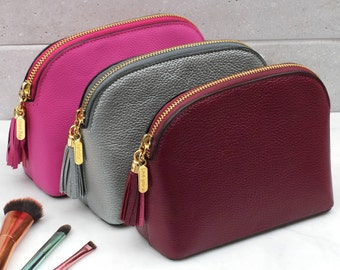 Luxury Leather Cosmetic Or Toiletries Bag