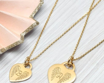 Personalised Yellow Gold Angel Wing Initial Necklace