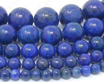 "Lapis Lazuli Blue Beads Natural Gemstone Round Loose - 4mm 6mm 8mm 10mm 12mm - 15.5"" Strand"