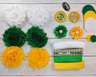 Green Bay DIY Headband Kit-Shabby Flower Headbands-Baby Shower Headband Kits