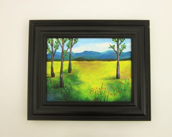 landscape painting on canvas with frame colorful landscape artist signed original acrylic landscape 9 x 12 canvas black frame included