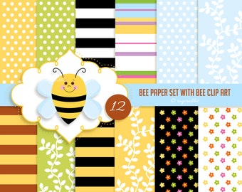 Bee Digital Paper with Bee Clip Art and Frame Clip Art, Commercial Use, Personal Use