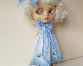 Silky sheer Dress Set For Blythe Hand dyed blue hues bows and roses detail