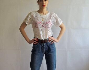 Vintage Lace Shirt Top/ Vintage White Lace Shirt/ Ladies Short Sleeve Blouse
