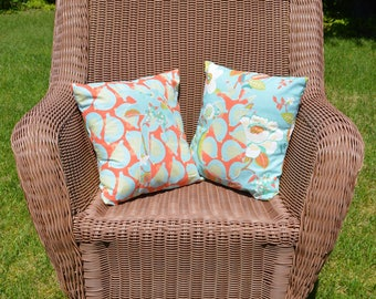 Pineapple and Palm Tree Throw Pillows 14''x14''