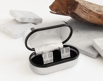Personalised Chrome Cufflink Box with Piano Cufflinks ~ Valentines, Fathers Day, Wedding, Anniversary, Birthday Gift