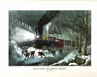 American Railroad Scene, an Extra Large Bookplate from Currier and Ives. The page is 18 3/4 inches wide and 14 inches tall.