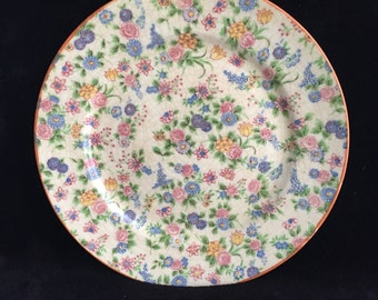 chintz plate vintage decorative chintz floral plate made in Japan antique pink blue yellow floral chintz dinner plate chintz wall decor