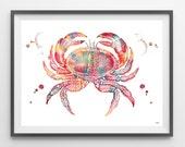 Crab watercolor print sea life art King Crab giclee print marine wall decor crab poster ocean art coral reef life crab wall art [600]