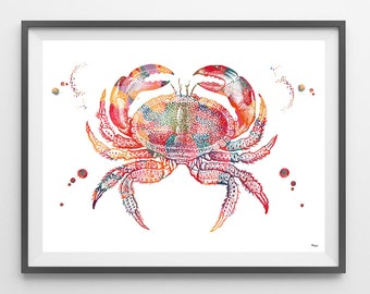 Crab watercolor print sea life art King Crab giclee print marine wall decor crab poster ocean art coral reef life crab wall art [600]